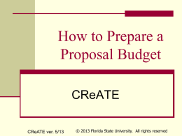 How to Prepare a Proposal Budget - Office of Research
