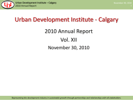 UDI Annual Report - 2010 - Urban Development Institute