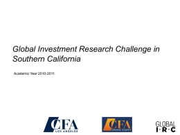 Global IRC Finals - CFA Society of Los Angeles