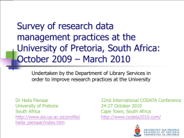 Survey of research data management practices