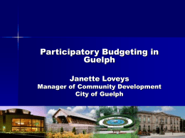Participatory Budgeting in Guelph