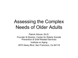 Assessing the Complex Needs of Older Adults