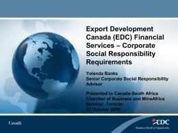 EDC Support for Mining in Africa – Corporate Social Responsibility