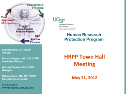 HRPP Town Hall - Office of Research