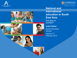 Isabel Nisbet`s presentation National and international education in