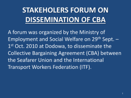Stakeholders Forum on Dissemination of CBA
