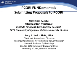 PCORI Fundamentals - University of Utah