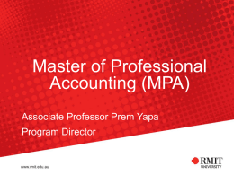 The Master of Professional Accounting (MPA)
