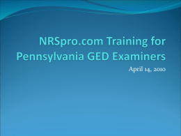 NRSpro.com Training for Pennsylvania GED Examiners