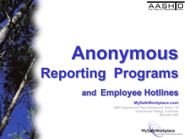 Anonymous Reporting Programs and Employee Hotlines