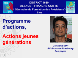 Actions Jeunes Générations - Rotary International District 1680