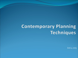 Contemporary Planning Techniques