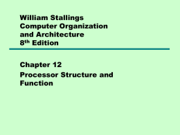 12 Processor Structure and Function