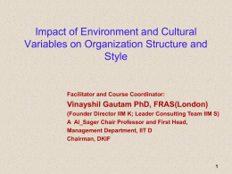 Impact of Environment and CulturalVariables on Organization