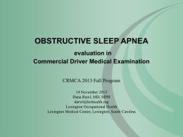 Obstructive Sleep Apnea in Comerical Driver Medical