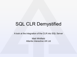 SQL CLR Demystified