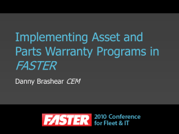 Implementing Asset and Parts Warranty Programs in FASTER
