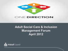 William Henwood Governance Manager Social Care & Inclusion