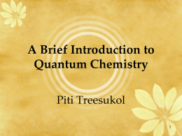 A Brief Introduction to Quantum Chemistry