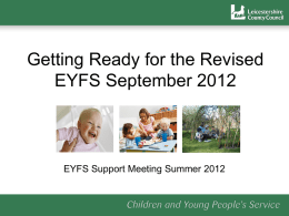 The EYFS progress check at age two