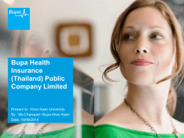 Bupa Health Insurance (Thailand) - International Relations Division