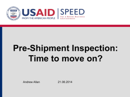 Pre-Shipment Inspection - Support Program for Economic and