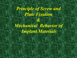 Principle of Screw and Plate Fixation & Mechanical Behavior of