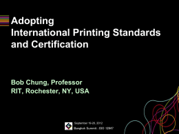 Adopting International Printing Standards and Certification by Bob