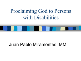 Proclaiming God to Persons - ADLA Special Needs Commission