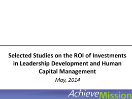 Selected Studies on the ROI of Investments in