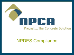NPDES Water Quality Issues for Precast